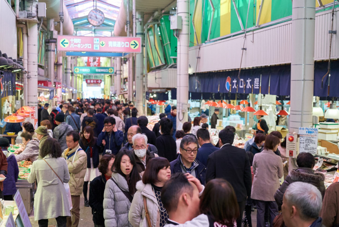 近江町市場場内の賑わい(北陸新幹線開通時)