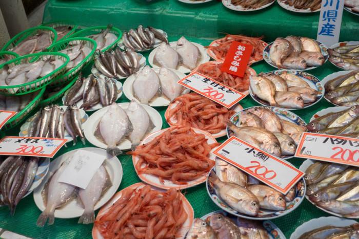 鮮魚店店頭に並んだ底引き網漁で獲れた魚