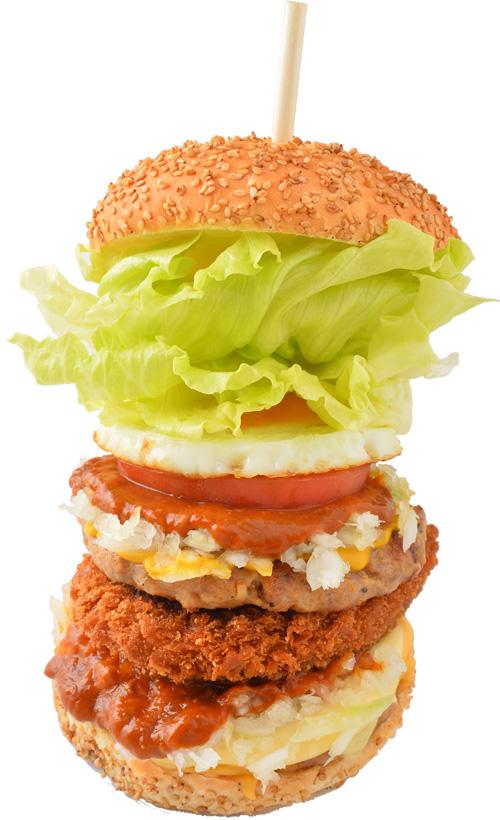 THEフットチョバーガー 800円(税抜) デカウマ!1日20食限定。ラッキーピエロでTV出演No.1の人気バーガー。 TVで元祖でぶやも、「まいうー」と唸ったほどの実力。