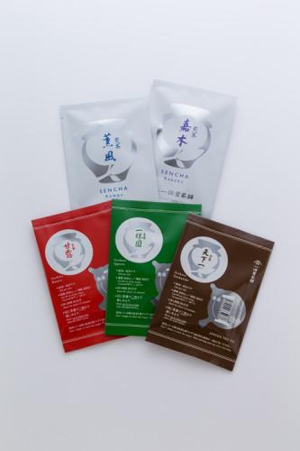 1回分袋(本店・丸の内店限定) 玉露は3種類 天下一、一保園、甘露、 煎茶は2種類 嘉木、薫風 上級銘柄の急須1回分袋(10g入り)は本格的な味わいを試したり、お土産にするのに便利で大変人気です。