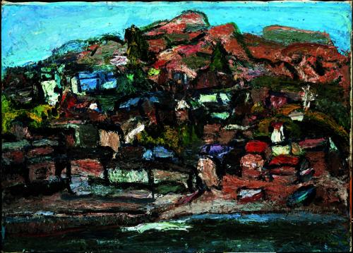 「福浦」 1964年(71歳) 油彩/キャンパス、53.0×80.3cm