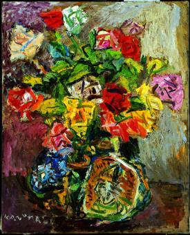 「薔薇」 1983年(90歳) 油彩/キャンパス80.3×65.2cm